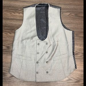Light Grey Half Moon Double Breasted Vest L